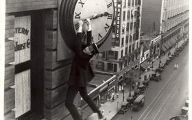 Картинка кино, часы, небоскреб, retro, harold lloyd