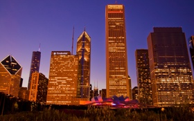 Картинка огни, здания, небоскребы, вечер, америка, чикаго, Chicago