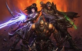 Картинка чародей, Diablo 3, варвар, охотник на демонов, диабло