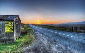 Картинка дорога, пейзаж, закат, дом, HDR