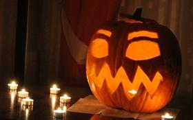 Картинка страх, праздник, свечи, тыква, хэллоуин