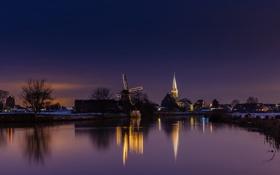 Картинка зима, ночь, огни, канал, Нидерланды, ветряная мельница