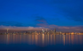 Картинка pacific ocean, night, harbor, blue hour, seattle