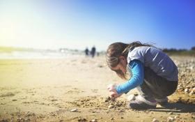 Картинка песок, пляж, девочка