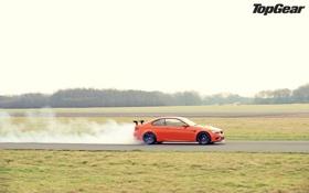 Картинка оранжевый, дым, BMW, БМВ, суперкар, вид сбоку, top gear