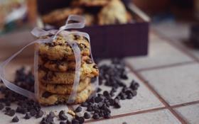 Обои шоколад, печенье, лента, бант