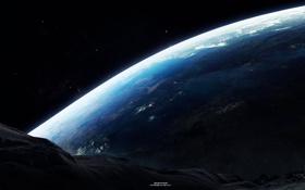 Обои атмосфера, звезды, планета, поверхность