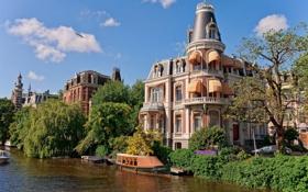 Обои деревья, дом, лодка, Амстердам, канал, Нидерланды, Holland