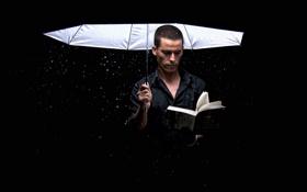 Обои зонт, книга, мужчина