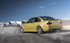Обои бмв, BMW, gold, E46, золотая