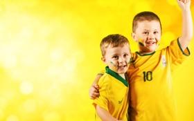 Обои Дети, Футбол, Болельщики, FIFA, Brasil