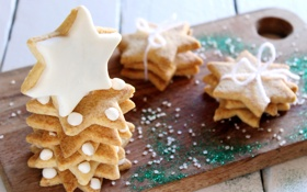 Обои зима, звезды, еда, блестки, печенье, сладости, звёздочки