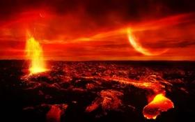 Обои фантастика, планета, магма