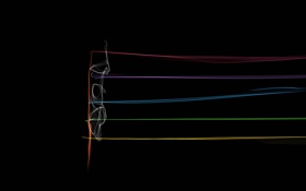 Обои лучи, линии, ноты, музыка, цвет