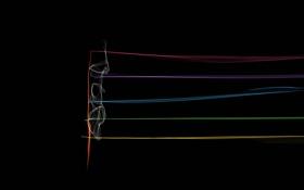 Картинка лучи, линии, ноты, музыка, цвет