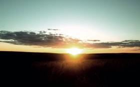 Обои закат, солнце, природа, поле, свет, лучи