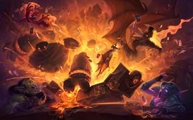Обои взрыв, огонь, дракон, эльф, орк, hearthstone, Hearthstone: Heroes of Warcraft