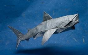 Обои бумага, хищник, акула, оригами