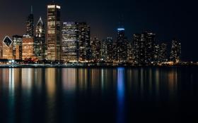 Картинка Огни, Ночь, Панорама, Чикаго, Мичиган, Небоскребы, Здания