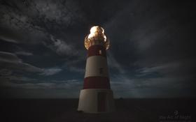 Обои небо, ночь, тучи, луч, photographer, Mark Gee, одинокий маяк