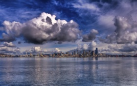Обои Wallpaper, Ocean, Seattle, City Scape, Cloud Sky