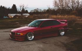 Обои BMW, Red, oldschool, 3 series, E36, Stance