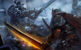 Обои холод, снег, фантастика, меч, доспехи, демон, арт