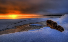 Картинка снег, закат, Sweden, Bergvik, Varmland