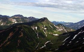 Картинка небо, трава, снег, горы, фото, ущелье