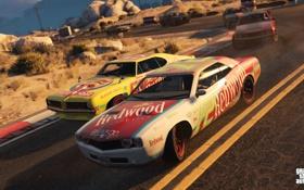 Обои дорога, машины, гонка, Grand Theft Auto 5