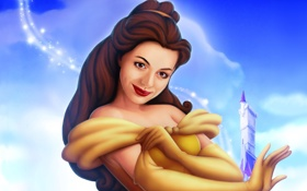 Картинка платье, красавица и чудовище, небо, девушка, белль, beauty and the beast, замок