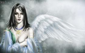 Обои девушка, украшения, ангел, крыло, арт