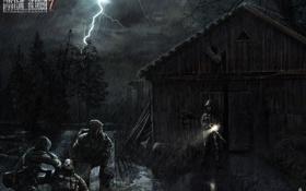 Обои ночь, дождь, молния, арт, Stalker, сталкеры