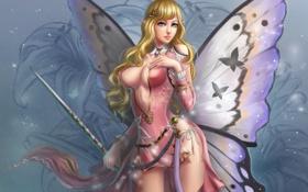 Картинка девушка, бабочка, butterfly
