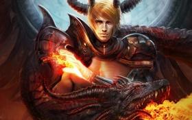 Картинка огонь, магия, дракон, демон, арт, рога, мужчина