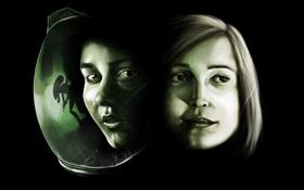 Обои девушки, лица, fan art, Alien: Isolation, Чужой: Изоляция, ksushow