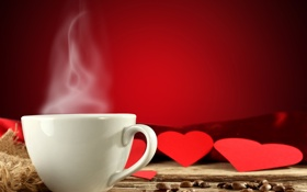 Обои red, love, background, cup, coffee, valentine, mug