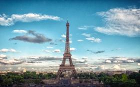 Картинка небо, облака, машины, люди, Франция, Париж, здания