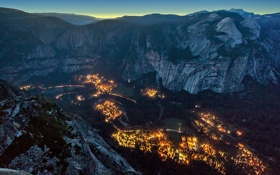 Картинка горы, природа, город, вечер, долина, ущелье, Yosemite Valley