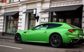 Обои Ferrari, суперкар, мат, зеленый, ресторан, москва