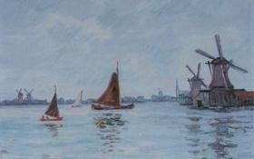 Обои пейзаж, лодка, картина, парус, Арман Гийомен, Яхты и ветряные мельницы в Голландии