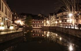 Картинка вода, ночь, город, огни, отражение, улица, Франция