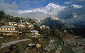Обои горы, дома, деревня, Непал, Ghangdrung village