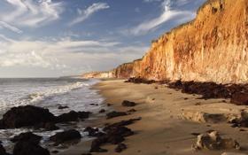 Обои песок, небо, вода, пейзаж, природа, скала, камни