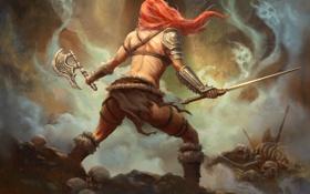Обои девушка, оружие, арт, кости, рыжая, души, Diablo 3