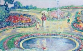 Картинка пейзаж, фонтан, Flowering Garden, Анри Лебаск, парк, картина, жанровая