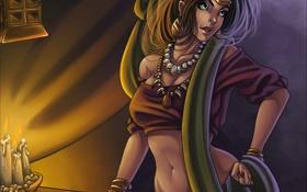 Картинка карты, взгляд, девушка, украшения, лицо, магия, волосы
