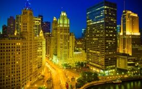 Обои ночь, город, река, Чикаго, иллюминация, Иллиноис