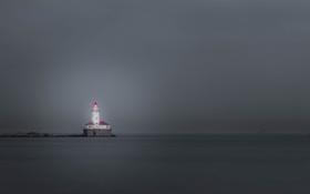 Картинка море, гроза, маяк, залив, серые облака