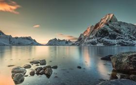 Картинка небо, снег, пейзаж, горы, берег, Норвегия
